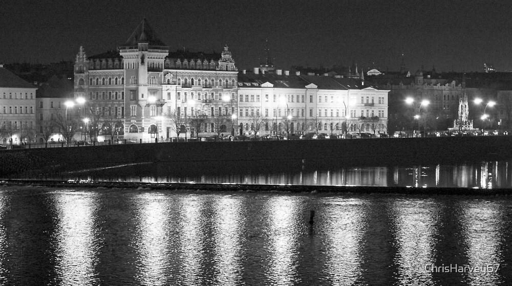Nightscape from Charles Bridge # 2 (Prague) B&W by ChrisHarvey67