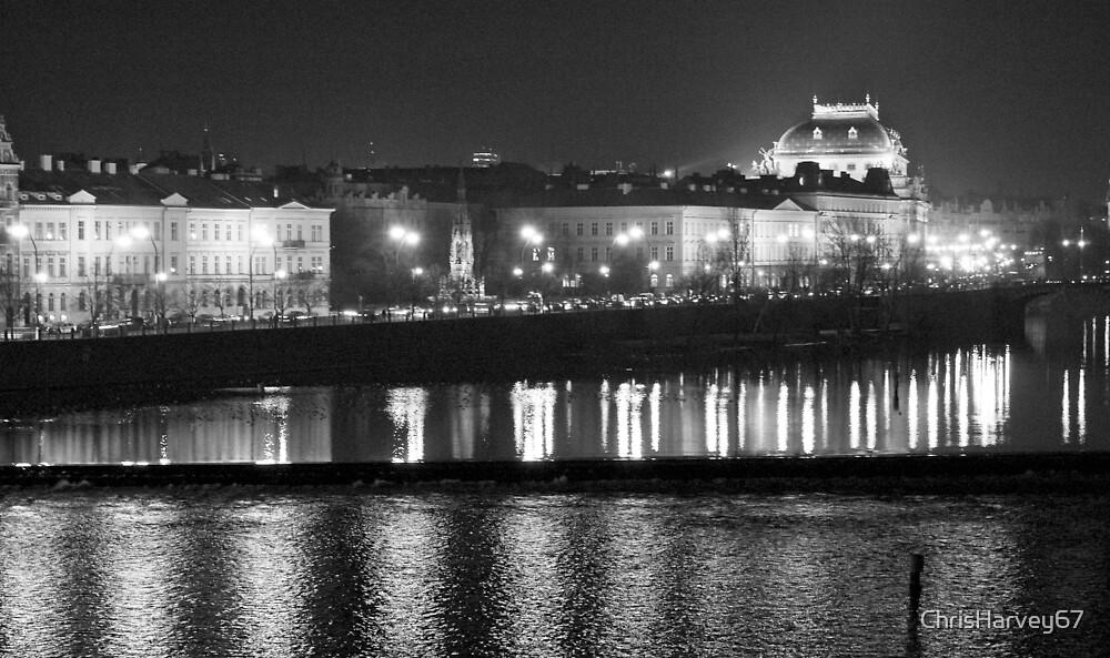 Nightscape from Charles Bridge # 1 (Prague) B&W by ChrisHarvey67
