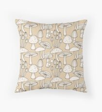 Line Drawing Mushrooms Pattern in taupe Throw Pillow
