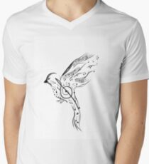 Bird with smaller musical notes isolated on white background. Vector illustration Men's V-Neck T-Shirt