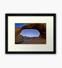 Lone Pine Mountains Painted With Light View through Arch Rock Framed Print
