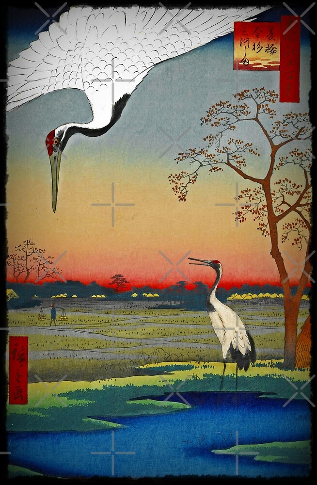 Chinese Cranes in the Sunset by diane  addis