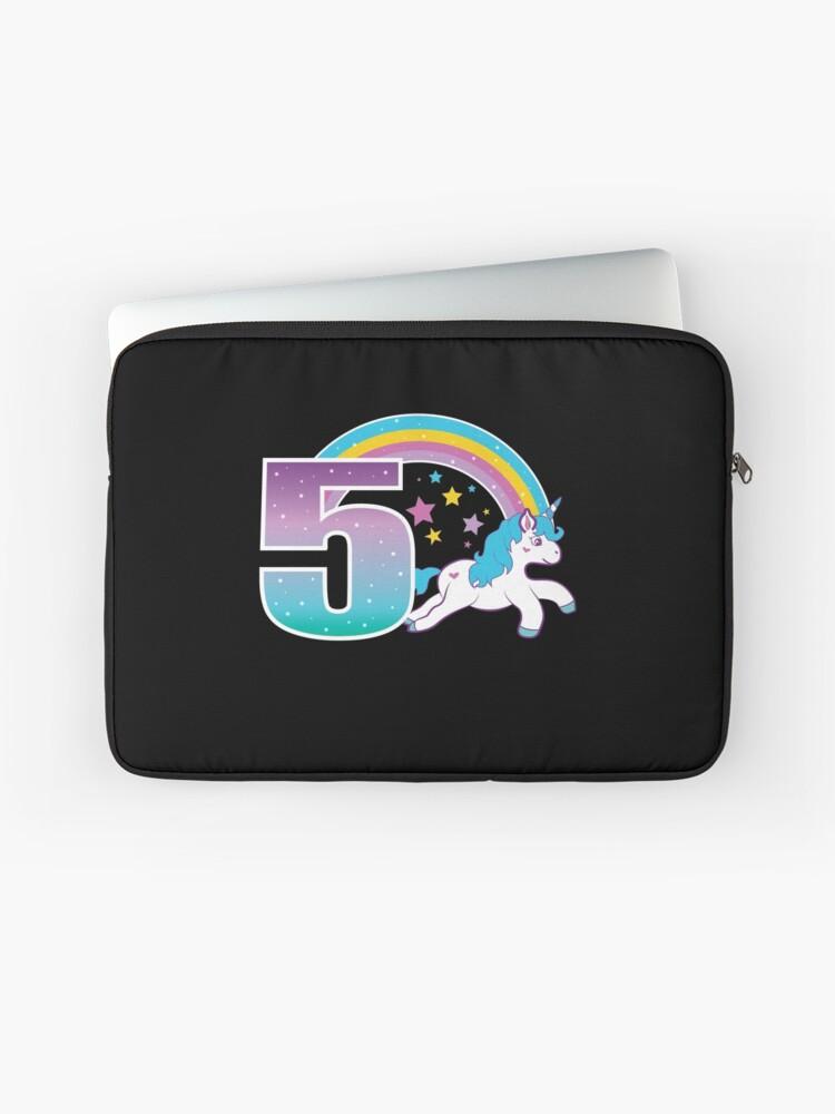 Unicorn 5th Birthday Gift Little Girl 5 Year Old Present Laptop Sleeve