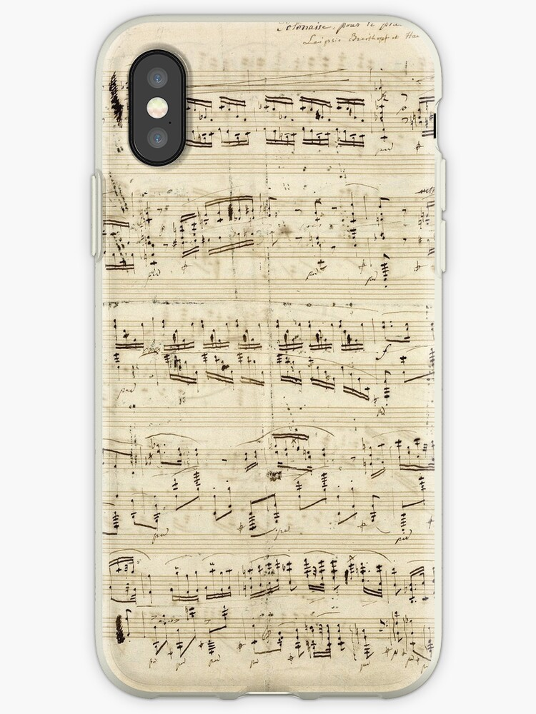 'Vintage Sheet Music Design Musical Notes Grunge Background' iPhone Case by  tanabe