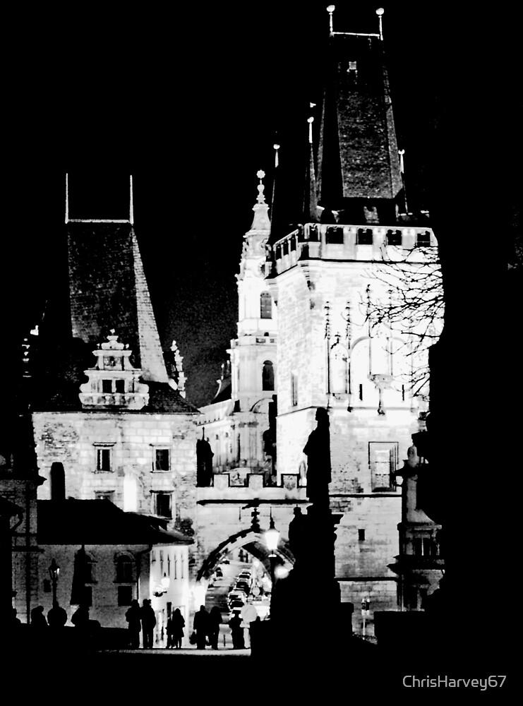 "Nigh View of West End of Charles Bridge (Prague) ""CONTRE CRAYON"" by ChrisHarvey67"