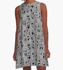 Egyptian Hieroglyphics on Gray A-Line Dress