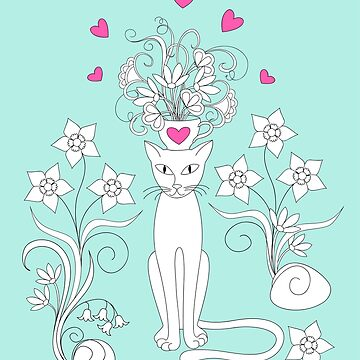elegance cat with flowers and heart by AlinNova