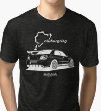 Revolution Project Nurburgring Impreza (white & black) Tri-blend T-Shirt