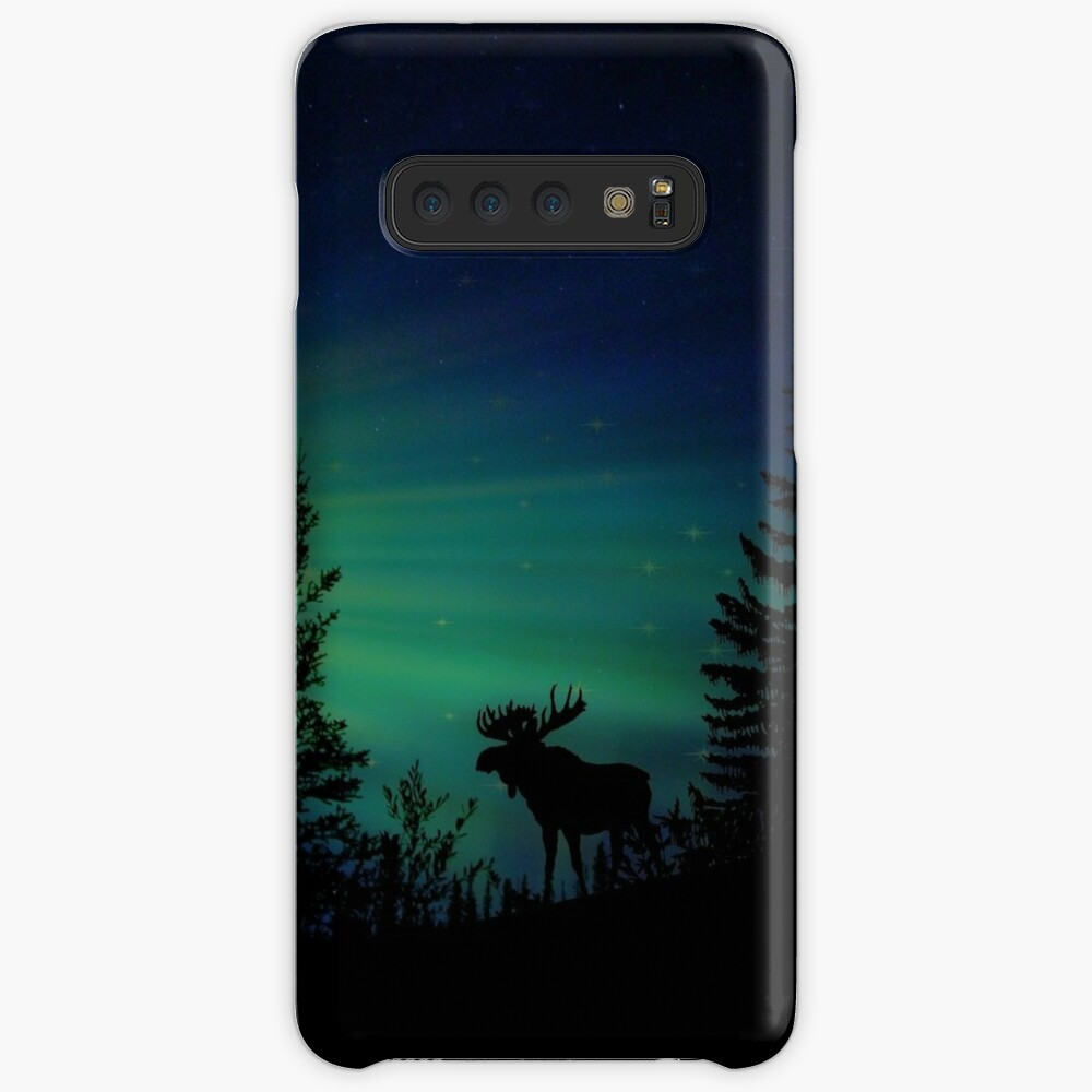 Elch mit Nordlichtern Hülle & Klebefolie für Samsung Galaxy