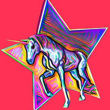 Nostalgic Psychedelic Unicorn Art by Alondra