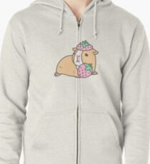 Pink Guinea Pig and Strawberry Pattern  Zipped Hoodie