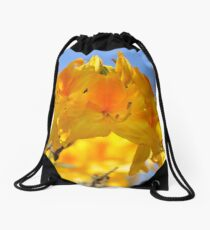 Yellow Rhododendron Flowers. Spring Pruhonice Park Drawstring Bag