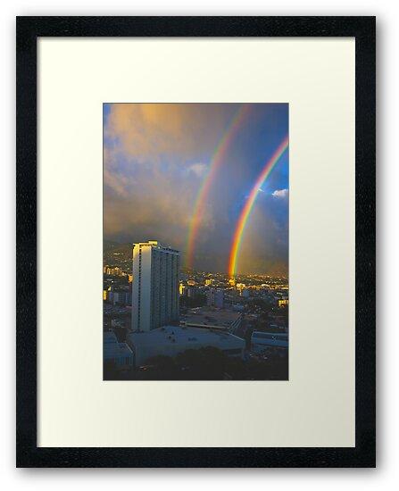 Double Loud Rainbow over Waikiki by photosbyflood