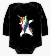 Lustige eintauchende Unicorn-Tanz-Einhörner-Tupfen Baby Body Langarm
