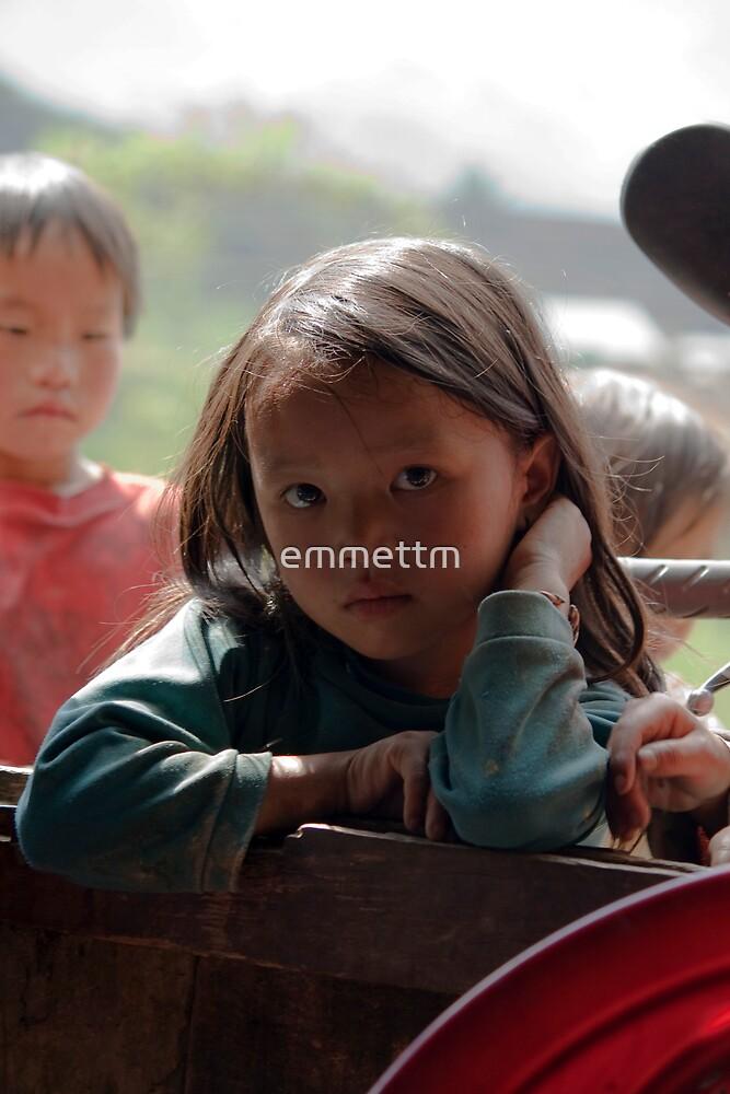 Children watching western visitors by emmettm