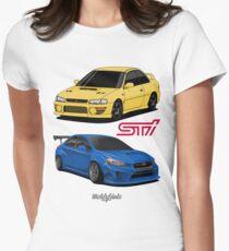 STi (yellow & blue) Women's Fitted T-Shirt