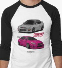 STi (silver & pink) Men's Baseball ¾ T-Shirt