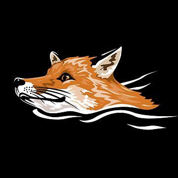 Swimming Fox by JohnBealDesign