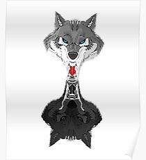 Wolf Mirror Reflection  Poster