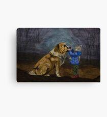 Dog & Child Canvas Print