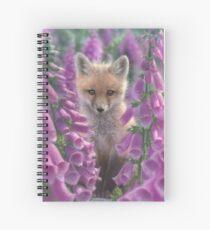 """Red Fox Pup """"Foxgloves"""" Spiral Notebook"""