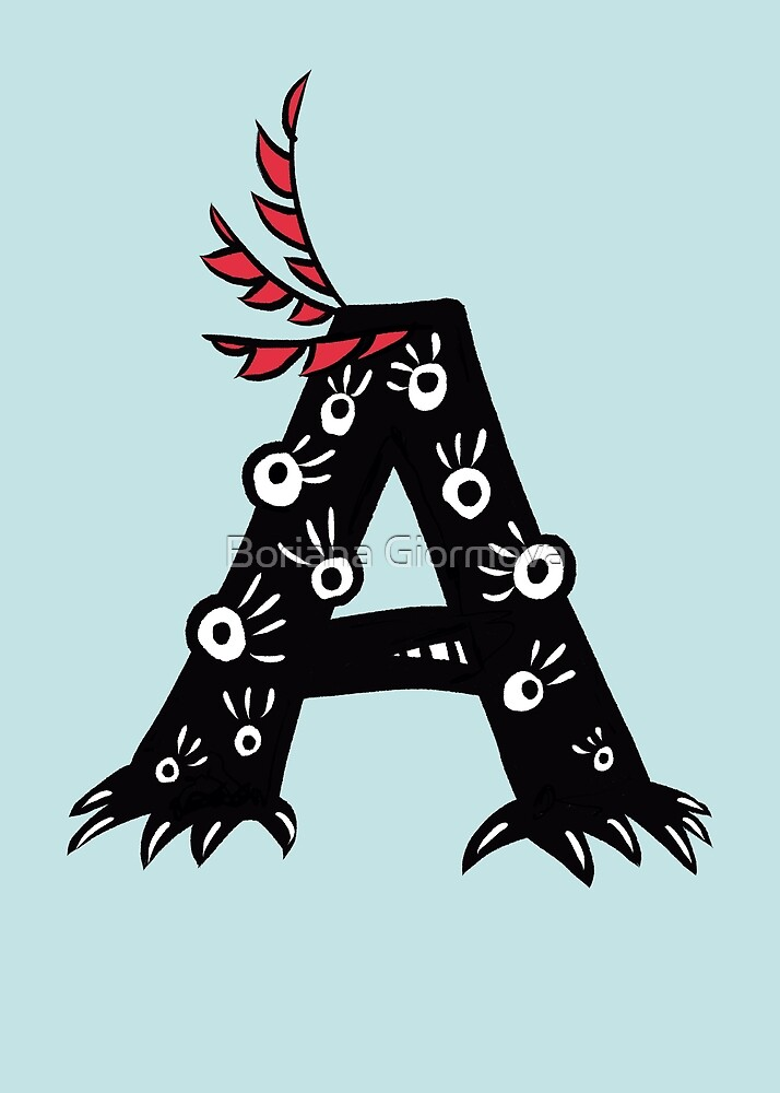 Letter A Funny Monster Drawing by Boriana Giormova