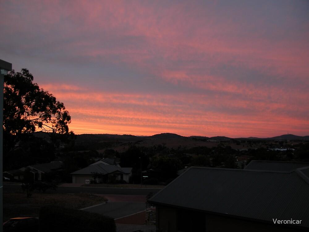 """Red Sky Over Manaro"" by Veronicar"