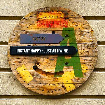 Instant Happy = Just Add Wine, Vintage Wooden Sign by BrunoBeach