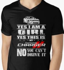 Yes I am a girl this is my Dodge Charger you can't drive Men's V-Neck T-Shirt