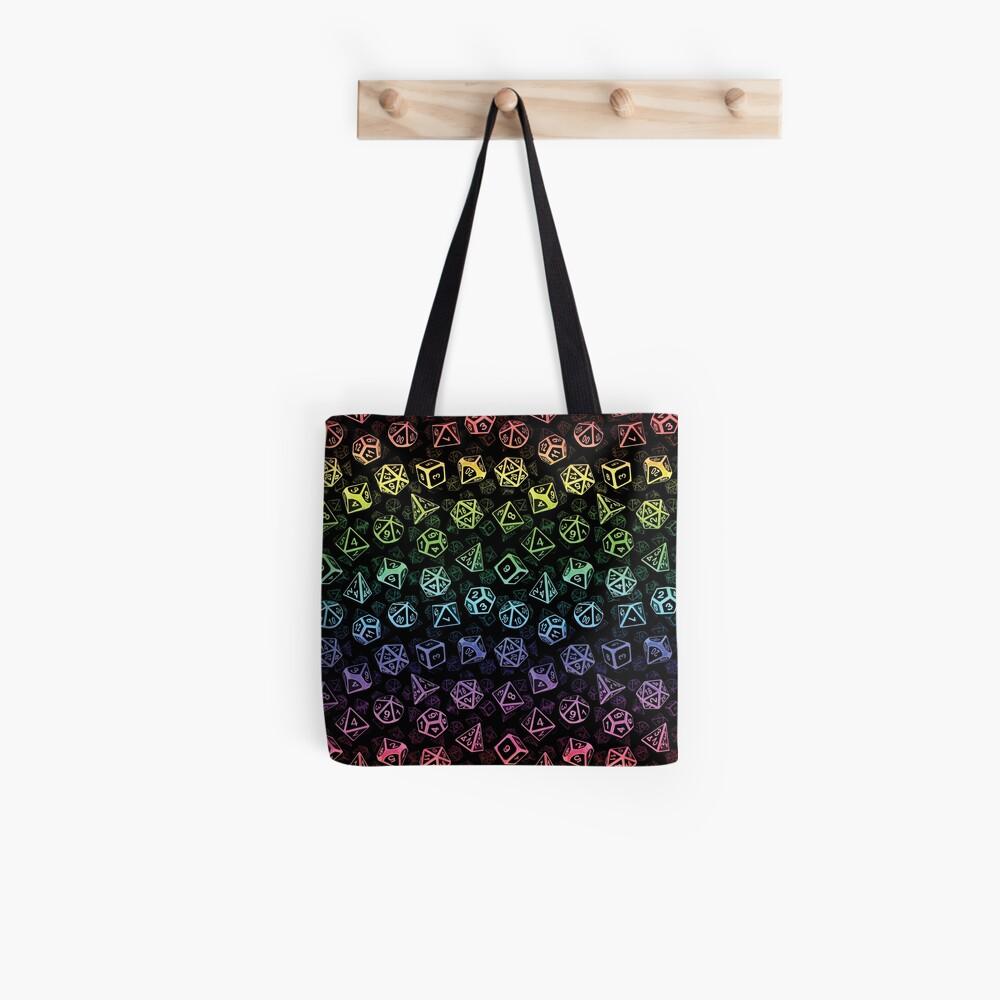 D20 Dice Set Pattern (Rainbow) Tote Bag