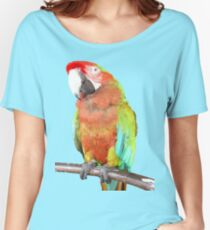 Vector Style Harlequin Macaw On A Perch Women's Relaxed Fit T-Shirt