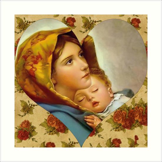 Láminas Artísticas Virgen María Y El Niño Jesús Virgen De La Calle