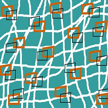 Mid-Century Modern Rectangles Teal by gailg1957
