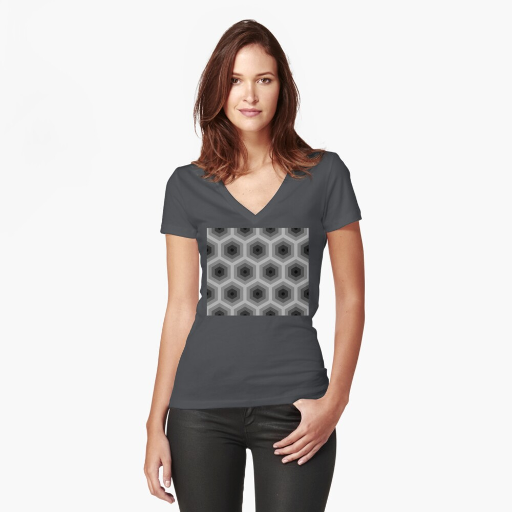Geometric Pattern: Hexagon: Grey Fitted V-Neck T-Shirt