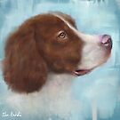 A Painting of a Brown and White Pointer, Looking Up by ibadishi