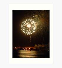 Fireworks on riverfront Art Print