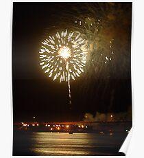 Fireworks on riverfront Poster
