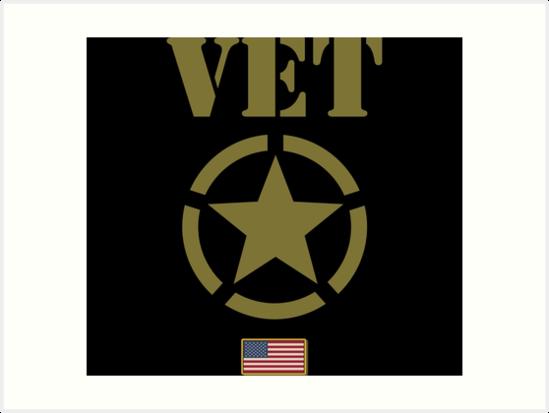 Military Veteran Usa Flag Star Stencil Graphic Art Prints By Bronby