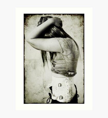 Me & my cursed/beloved, wonderfully erotic yet horribly irritating steel-boned backbrace... Art Print