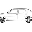Renault 14 Classic Car Outline Artwork by RJWautographics