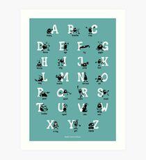 Alphabet - Aqua Art Print