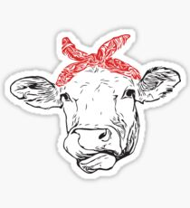 Cow with Red Bandana Sticker