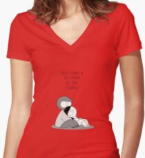 Easy To Be Happy Women's Fitted V-Neck T-Shirt