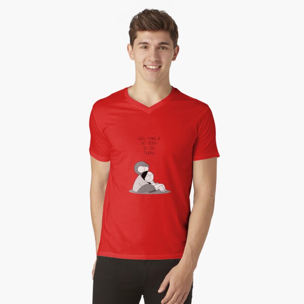 Einfach glücklich zu sein T-Shirt mit V-Ausschnitt für Männer Vorne