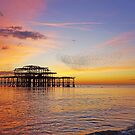 Brighton sunset and murmuration by Barry Goble