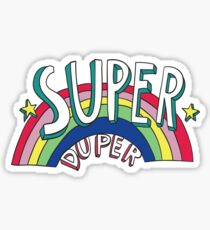 Super Duper Hand Drawn Seventies Style Rainbow Graphic Sticker