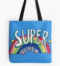 Super Duper Hand Drawn Seventies Style Rainbow Graphic Tote Bag
