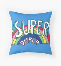 Super Duper Hand Drawn Seventies Style Rainbow Graphic Throw Pillow