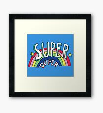 Super Duper Hand Drawn Seventies Style Rainbow Graphic Framed Print