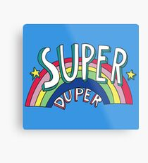 Super Duper Hand Drawn Seventies Style Rainbow Graphic Metal Print